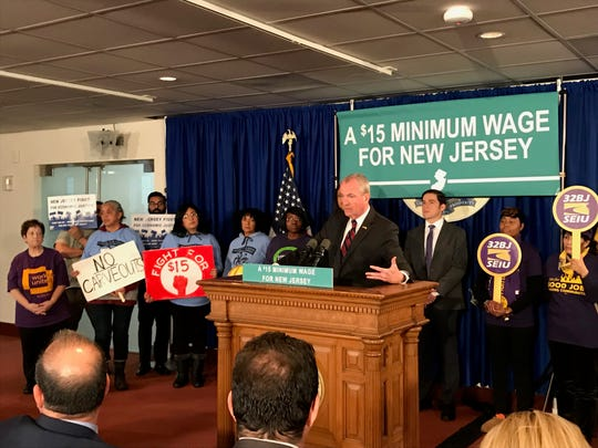 Gov. Phil Murphy spoke briefly about the marijuana legislation during a news conference in Trenton about raising the minimum wage on Nov. 26, 2018.