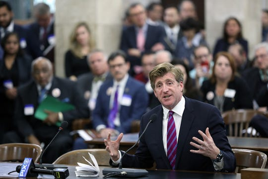 Former Rhode Island Congressman, Patrick Kennedy, who is against legalizing recreational marijuana use, testifies at a joint legislative committee. Monday, November 26, 2018