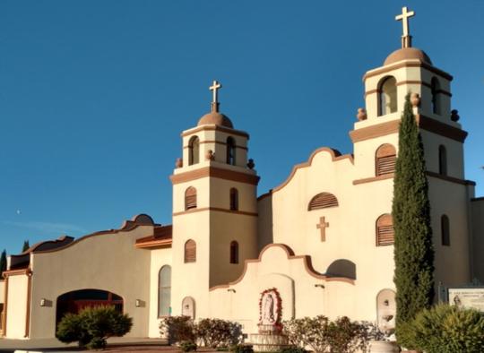 The current Santa Ana Catholic Church at 400 S. Ruby Street.