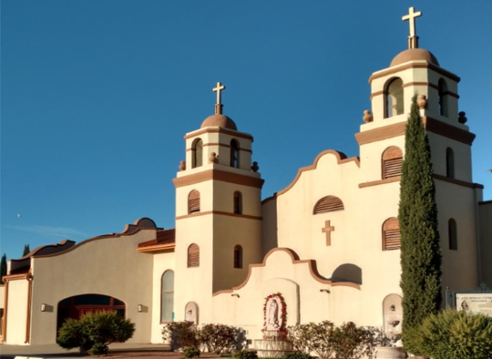 The current Santa Ana Catholic Church at 400 S. Ruby Street.