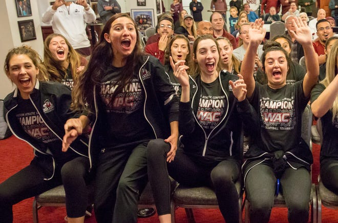 On Nov. 25, 2018, during NCAA tournament watch party, New Mexico State University volleyball players react as they find out they will face No. 15 Oregon in Eugene in the first round of the NCAA Tournament.