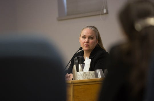 Deputy District Attorney Heather Chavez testifies during a hearing before the Public Employee Labor Relations Board, Monday November 26, 2018.