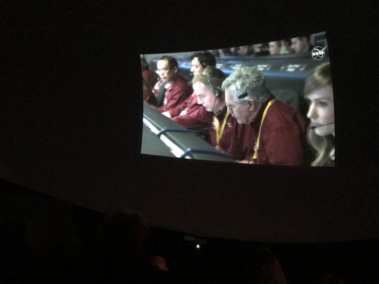 Audience members were able to watch members of NASA's Jet Propulsion Laboratory monitor InSight's landing on Mars.