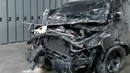 The driver of the truck was unhurt and fled the scene after the crash Sunday, Nov. 25, 2018, police said.