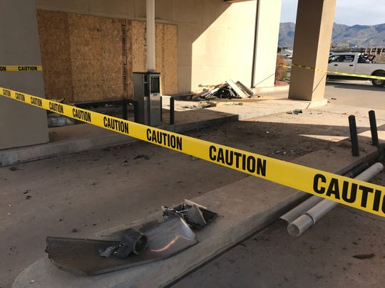 The drive-thru services of Washington Federal Bank in Alamogordo closed after a truck crashed into the building Sunday evening.
