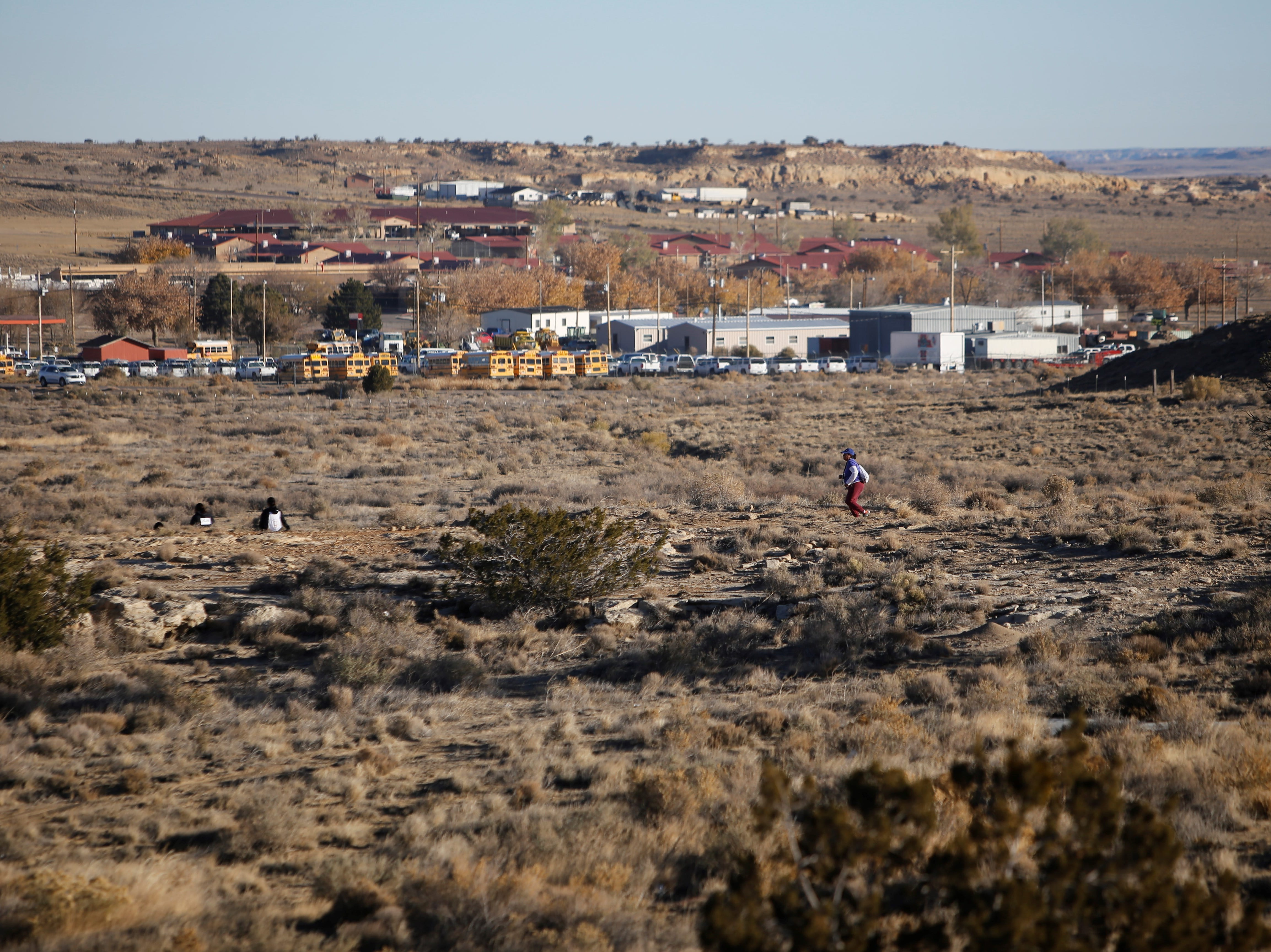 Participants completed a 1.5-mile course on Monday that traveled on and off the Navajo Technical University campus in Crownpoint.