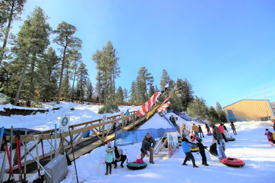 Ruidoso Winter Park guests are having fun at the kiddie run. Guests visit from all over the Southwest to visit the park daily once it is open.
