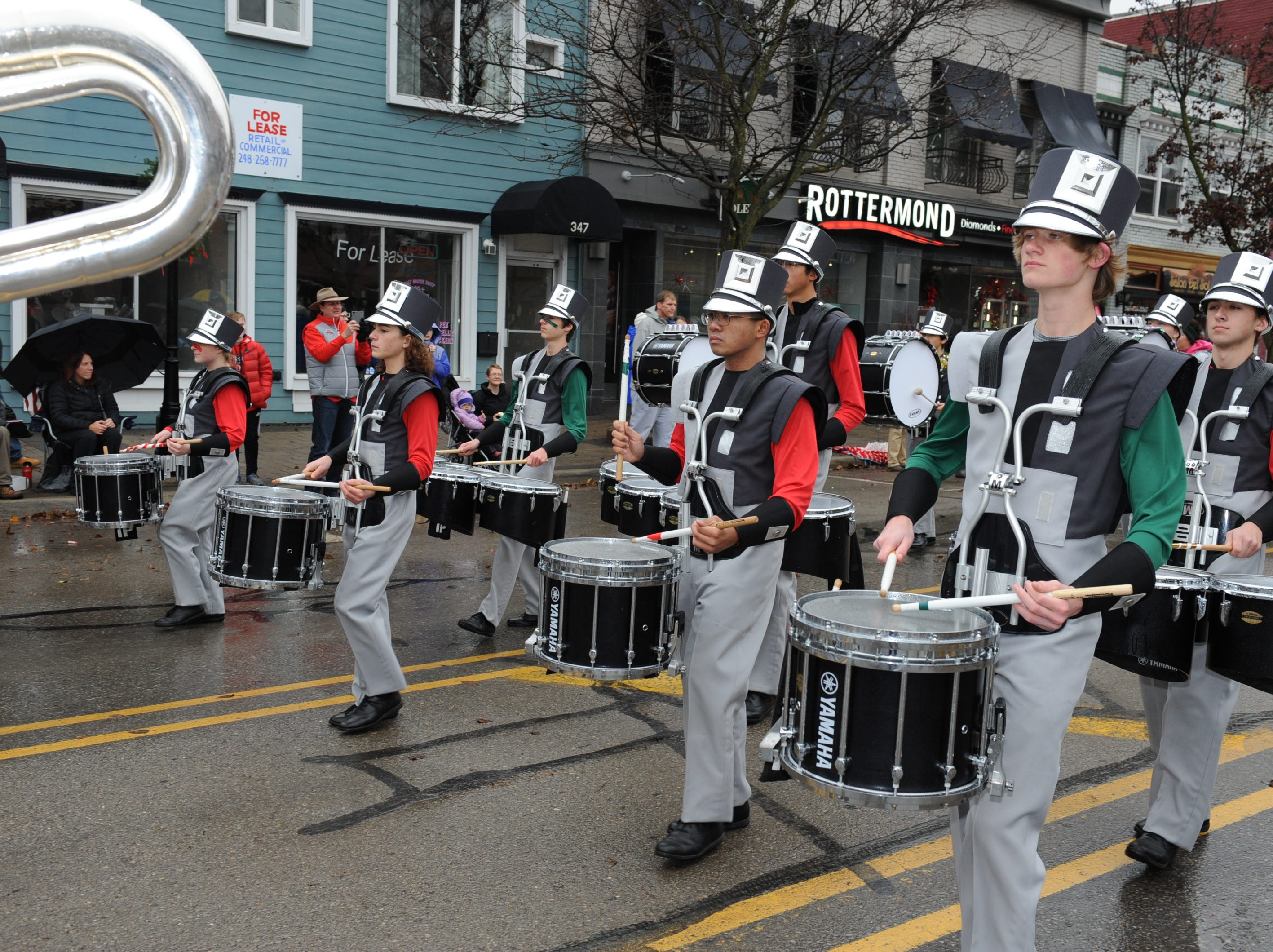 The Lakeland High School Marching Band entertains the crowds in Milford.