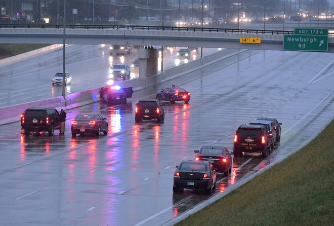 I-96 westbound is closed in Livonia between Farmington Road and Newburgh Road because of a police chase and shooting.
