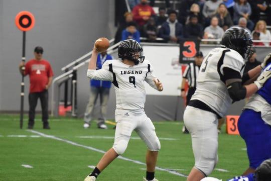 Ready to throw the football is Team Legends quarterback Matt Hornyak of Howell High School.
