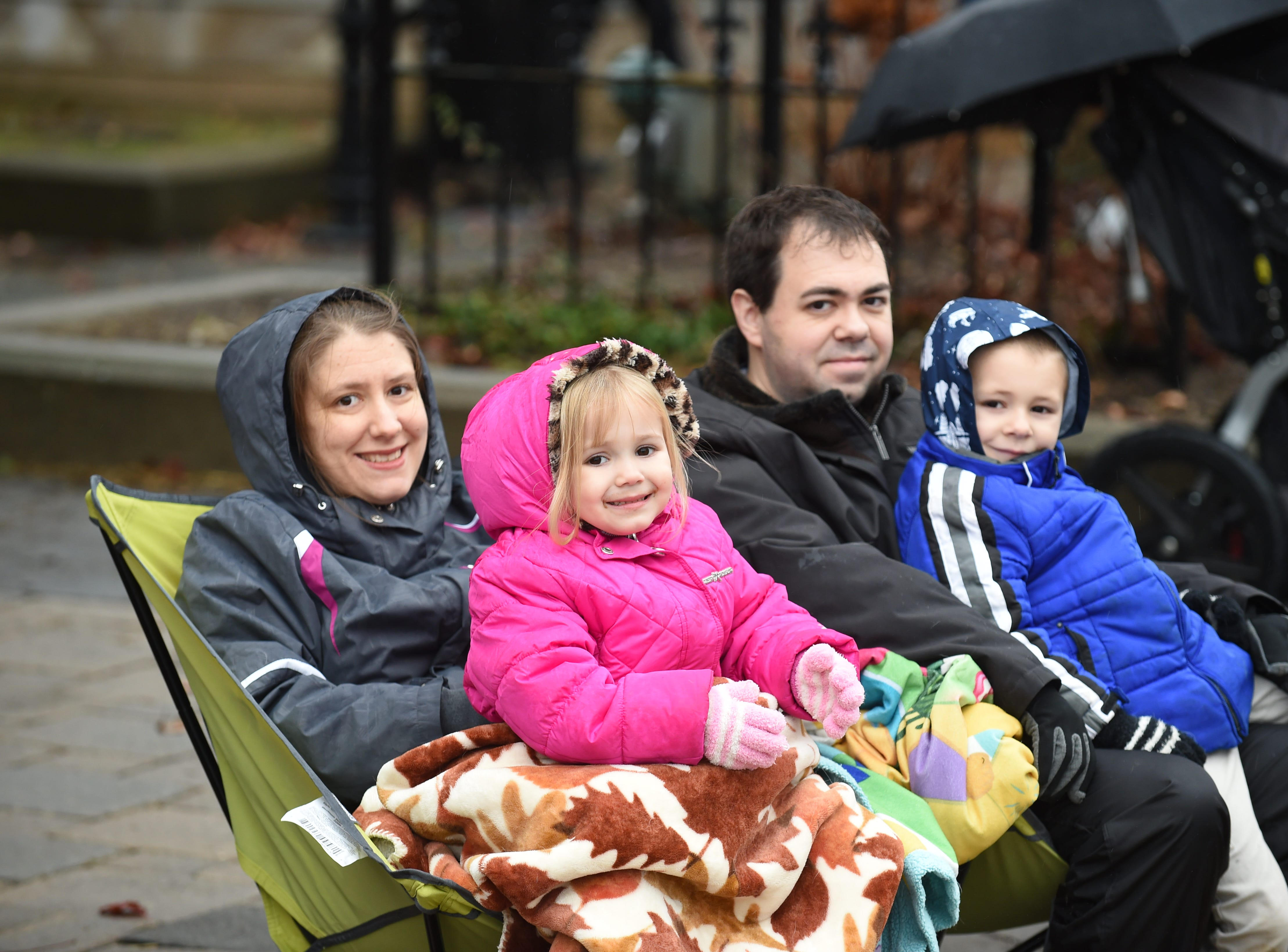 The Hunt family from Milford get ready for the annual Milford Christmas parade.
