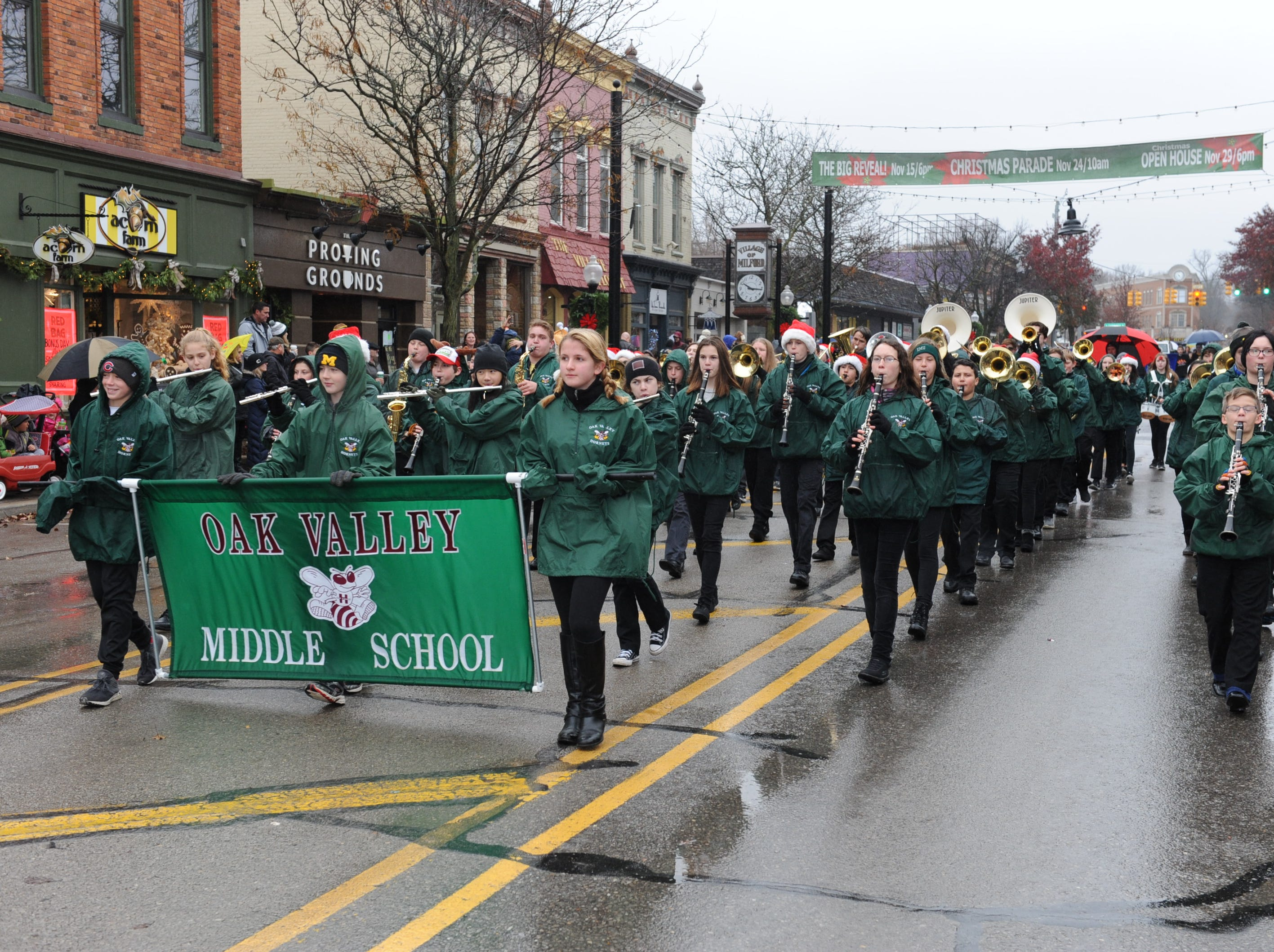 The Oak Valley Middle School band entertains the crowds during Milford's annual Christmas parade.