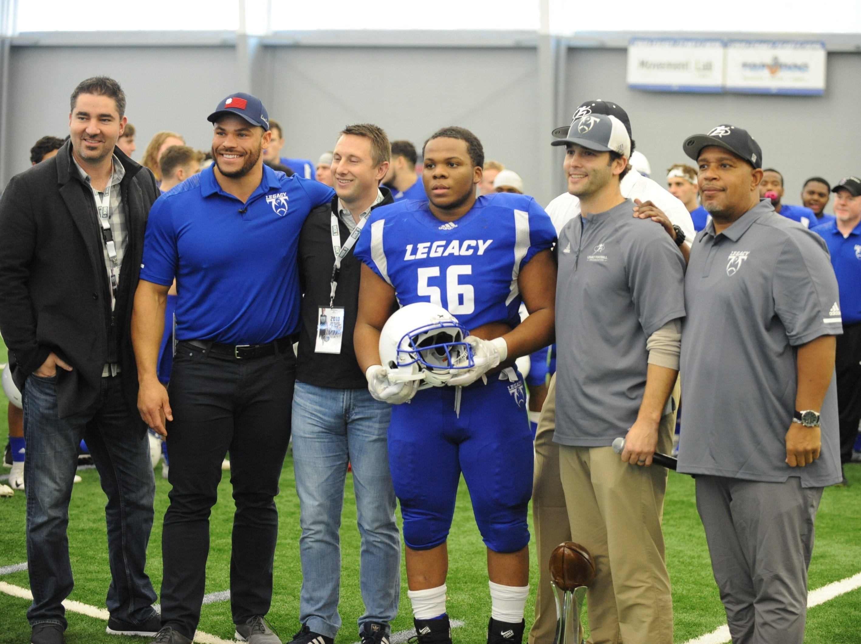 Team Legacy MVP Victor Nelson (56) of Detroit Central High School during postgame honors.