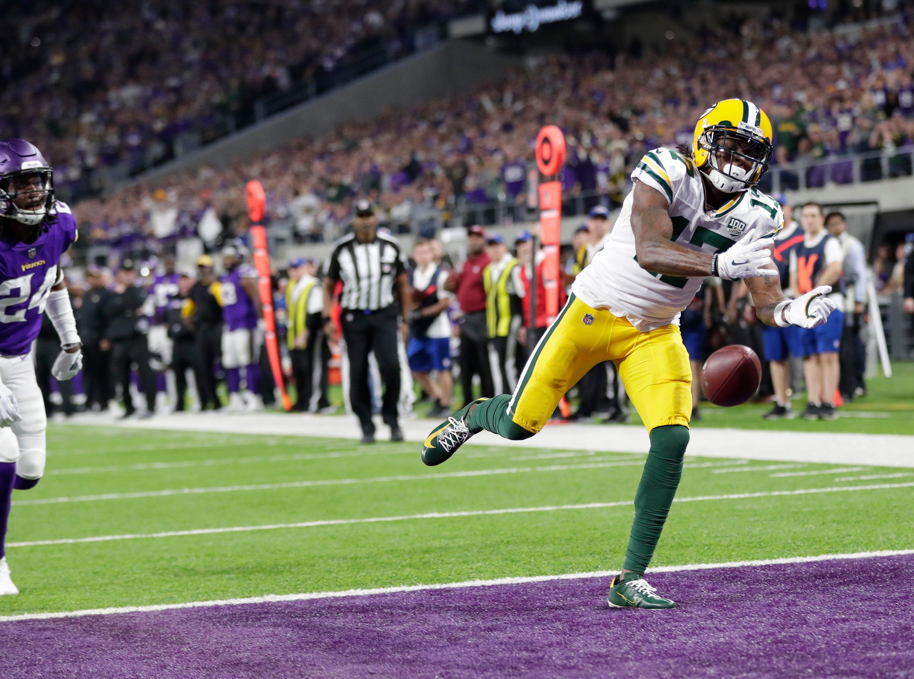 Green Bay Packers wide receiver Davante Adams (17) can't come up with a catch in the end zone against Minnesota Vikings defensive back Holton Hill (24) late in the fourth quarter during their football game Sunday, November 25, 2018, at U.S. Bank Stadium in Minneapolis, Minn. 