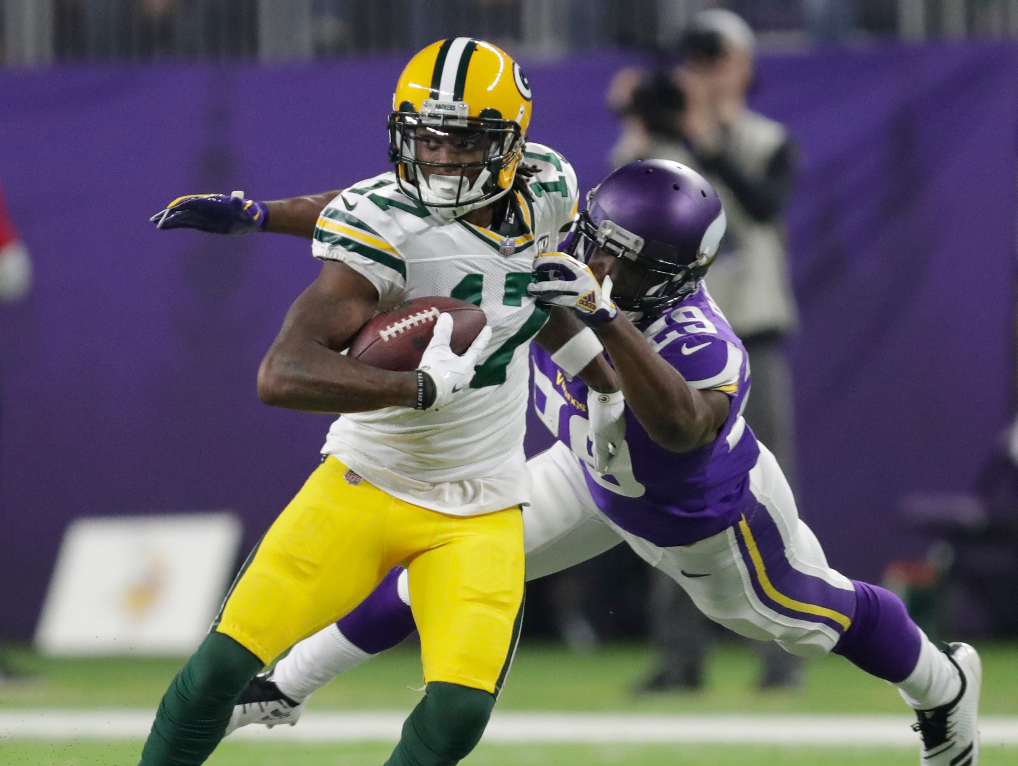 Green Bay Packers wide receiver Davante Adams (17) breaks away from Minnesota Vikings cornerback Xavier Rhodes (29) in the third quarter during their football game Sunday, November 25, 2018, at U.S. Bank Stadium in Minneapolis, Minn. 