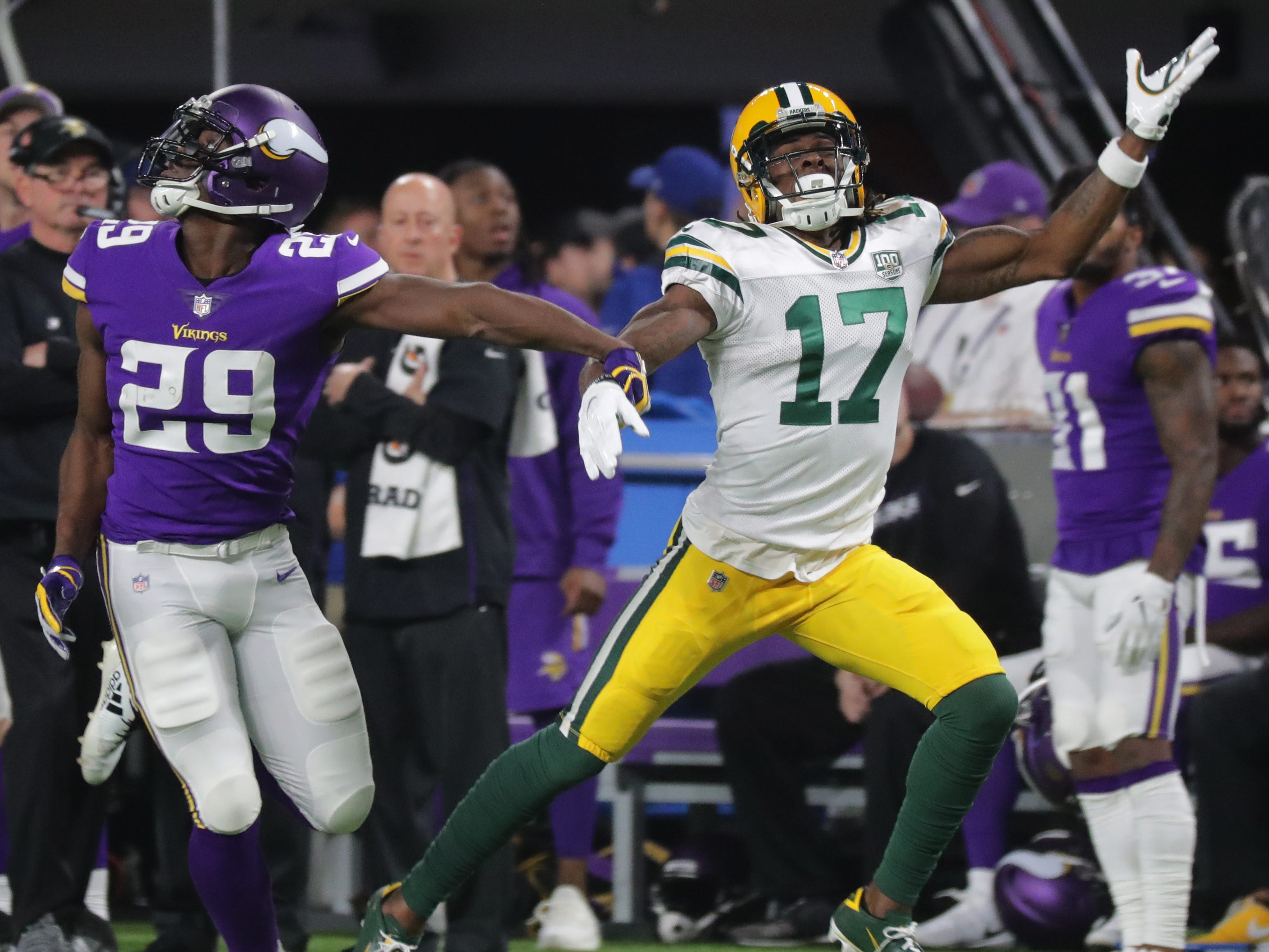 Minnesota Vikings cornerback Xavier Rhodes (29) is called for pass interference while covering Green Bay Packers wide receiver Davante Adams (17) during the second quarter of their game Sunday, November 25, 2018 at U.S. Bank Stadium in Minneapolis, Minn.