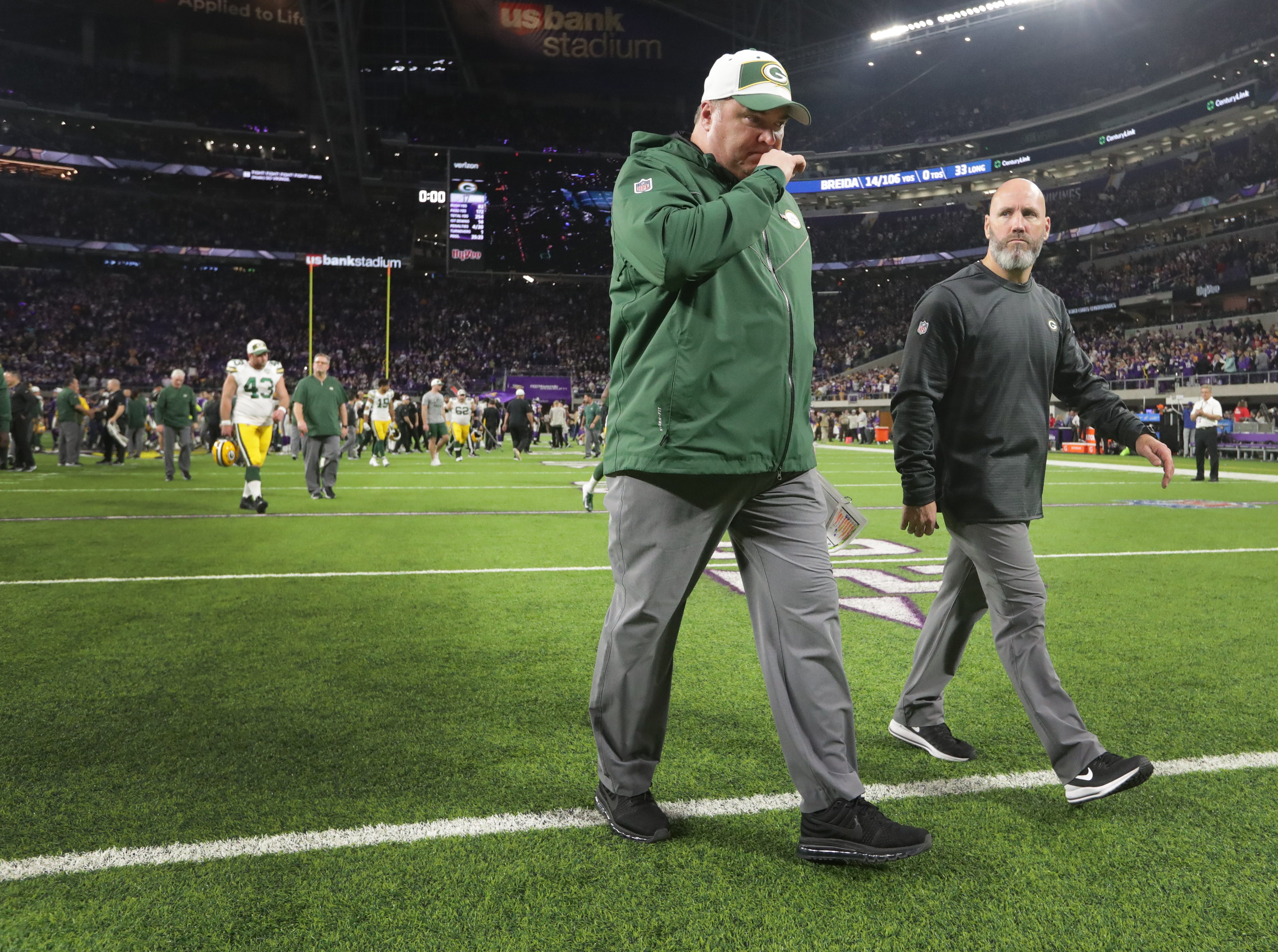 Green Bay Packers head coach Mike McCarthy leaves the field after their game Sunday, November 25, 2018 at U.S. Bank Stadium in Minneapolis, Minn. The Minnesota Vikings beat the Green Bay Packers 24-17.
