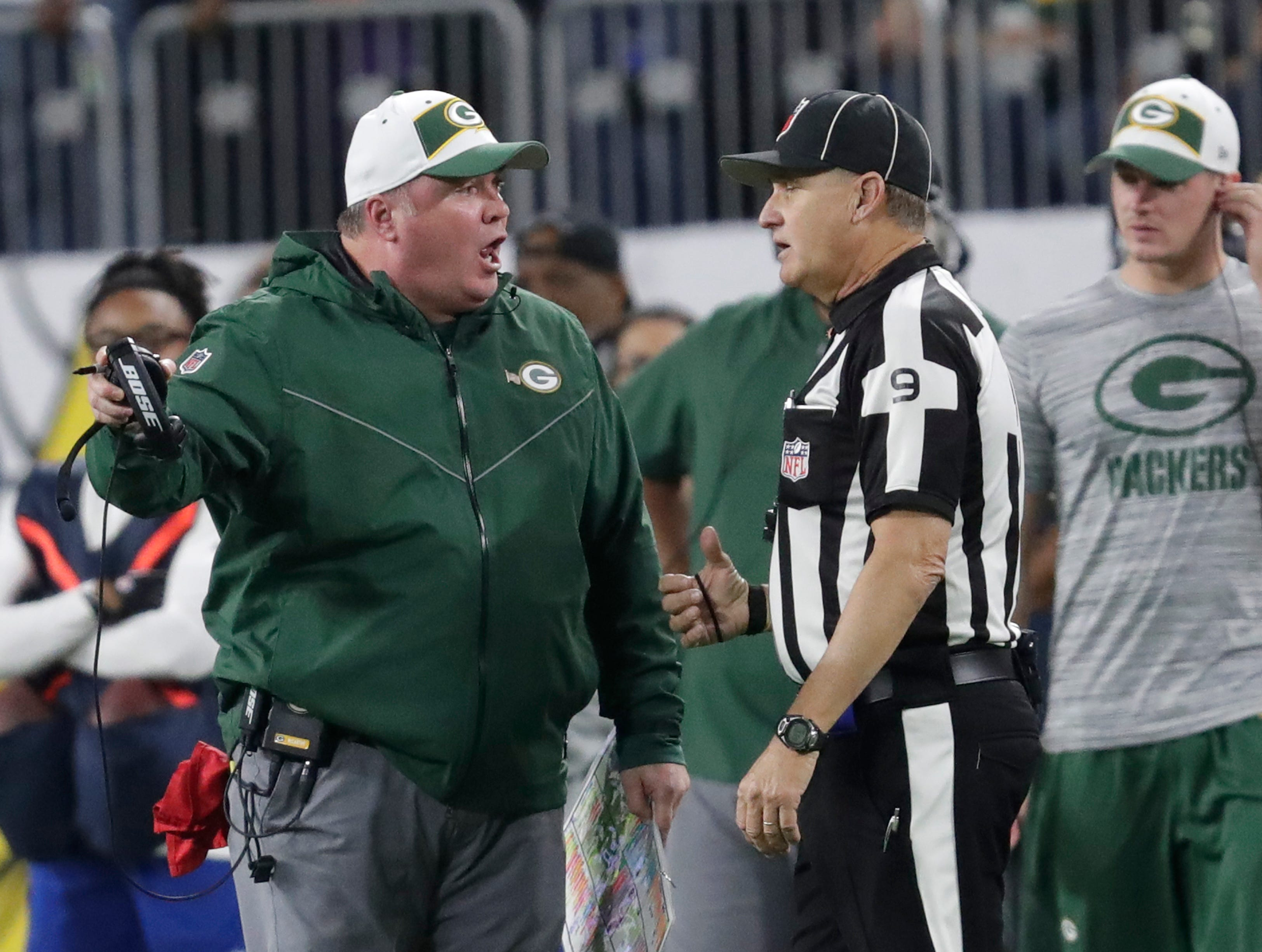 Green Bay Packers head coach Mike McCarthy yells at an official in the third quarter against the Minnesota Vikings during their football game Sunday, November 25, 2018, at U.S. Bank Stadium in Minneapolis, Minn. 