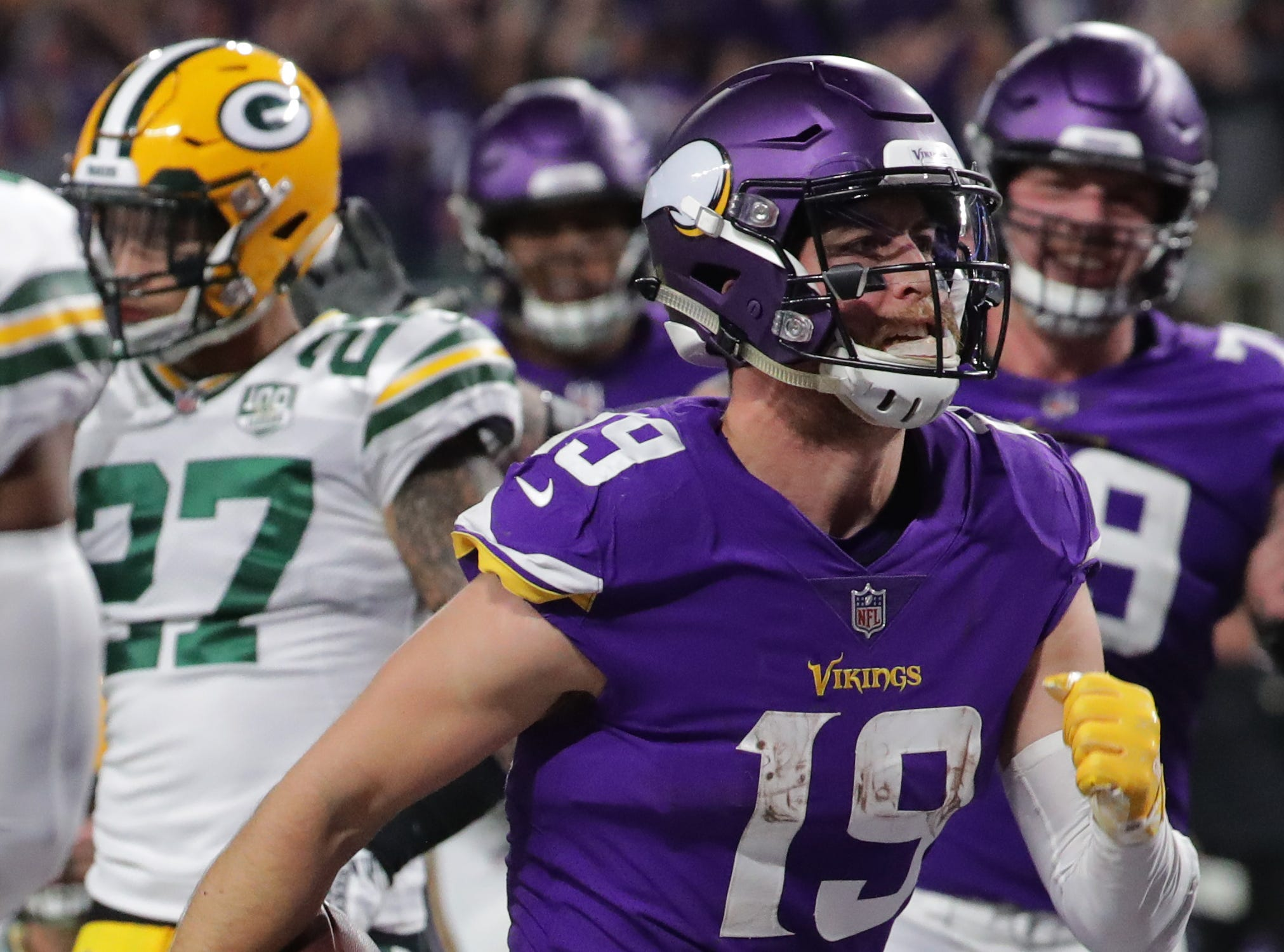 Minnesota Vikings wide receiver Adam Thielen (19) strust after scoring a touchdown on a 14-yard reception during the third quarter of their game Sunday, November 25, 2018 at U.S. Bank Stadium in Minneapolis, Minn. The Minnesota Vikings beat the Green Bay Packers 24-17.