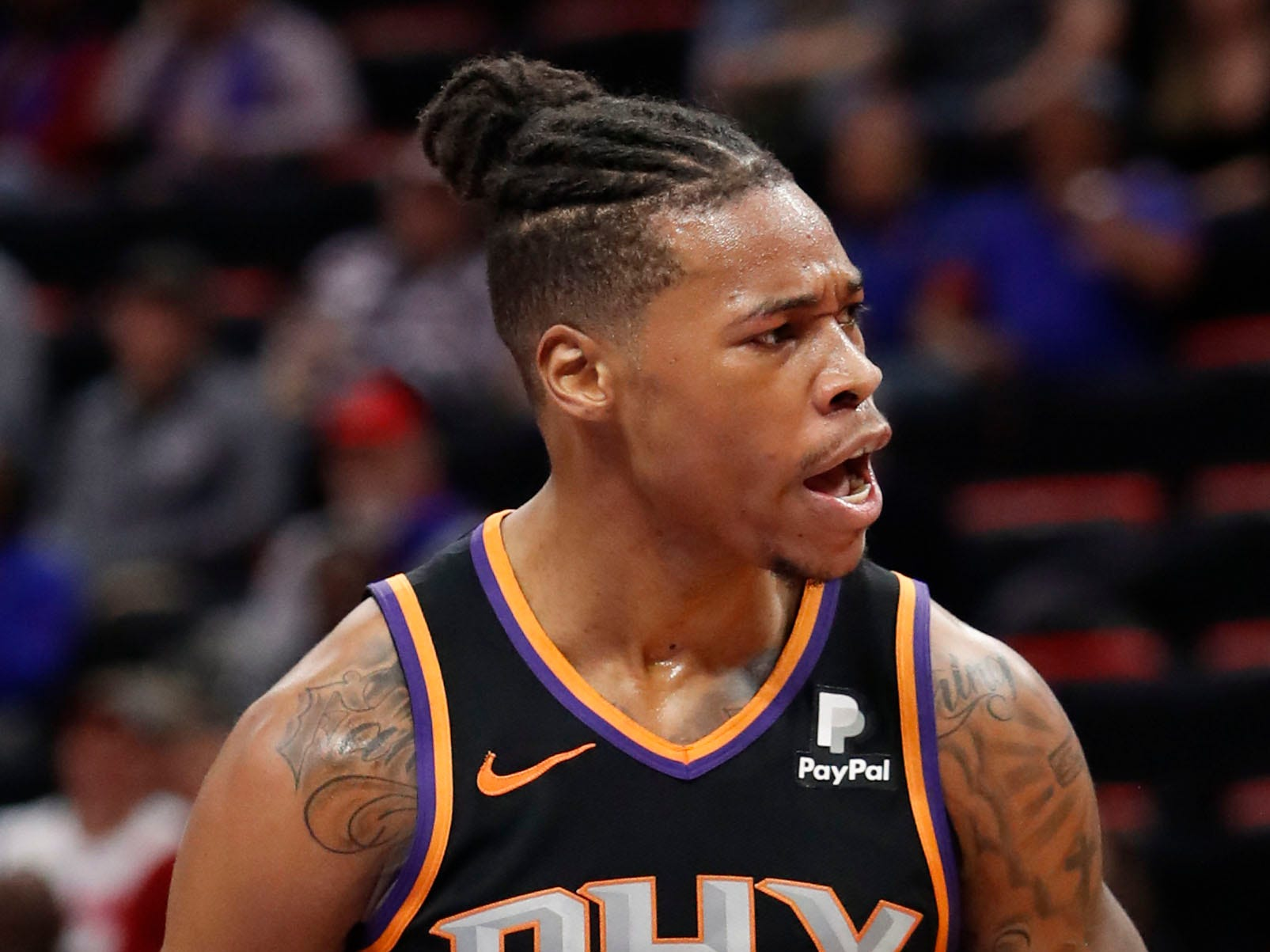 Nov 25, 2018; Detroit, MI, USA; Phoenix Suns forward Richaun Holmes (21) reacts after making a shot and getting fouled during the fourth quarter against the Detroit Pistons at Little Caesars Arena. Mandatory Credit: Raj Mehta-USA TODAY Sports