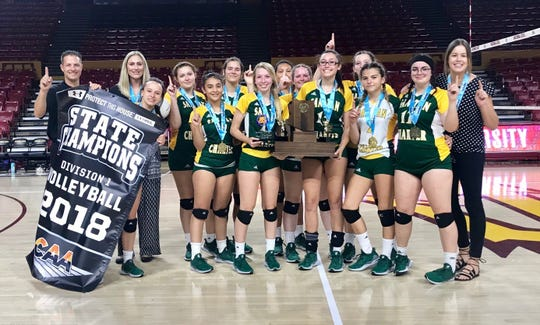 San Tan Charter celebrates its CAA state championship for volleyball.