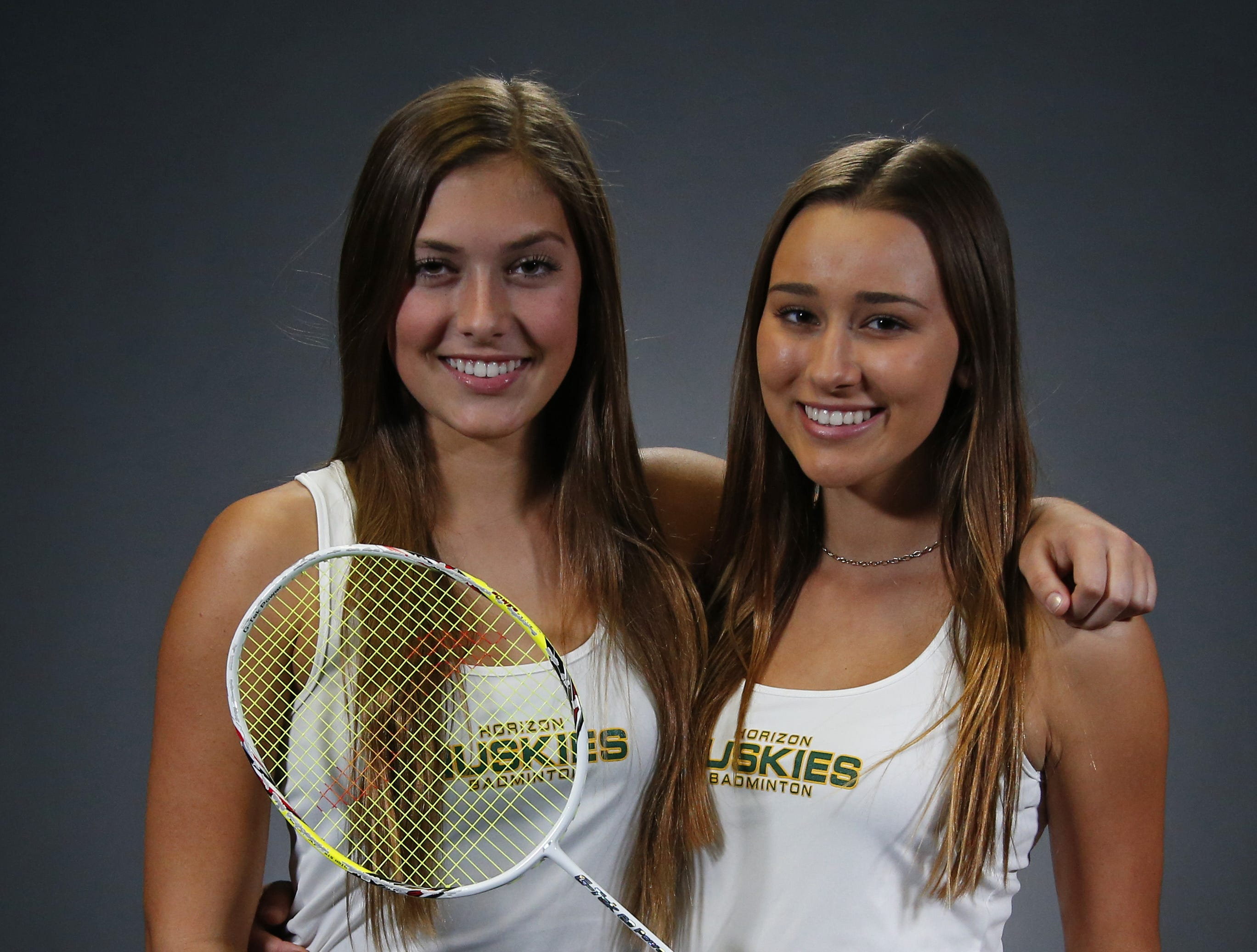 Horizon Tori Pepe, left, and  Kaity Woods badminton #azcsportsawards November 15,2018
