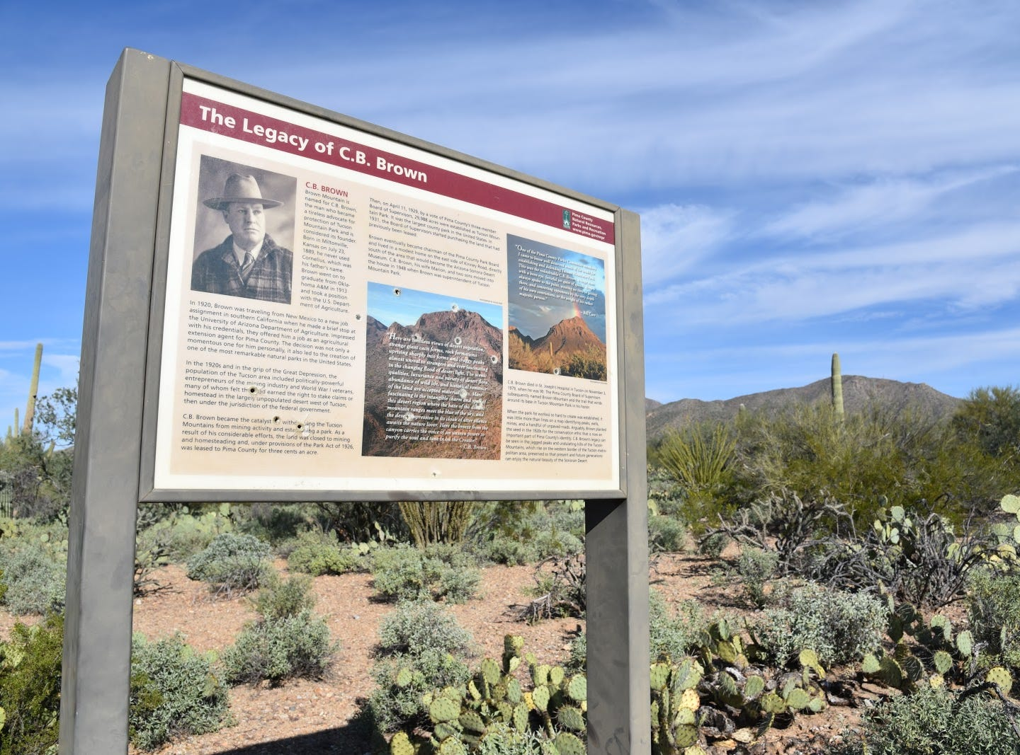 C.B. Brown is considered the founder of Tucson Mountain Park.