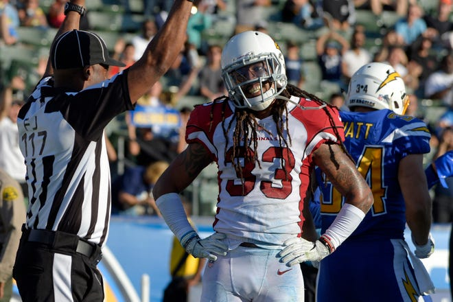 Nov 25, 2018: Arizona Cardinals defensive back Tre Boston (33) reacts to a touchdown  call during the third quarter against the Los Angeles Chargers at StubHub Center.