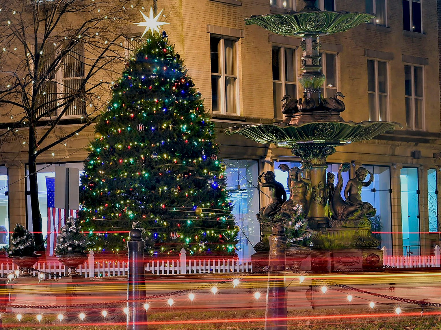 The Chambersburg Christmas tree lights up Memorial Square as seen on November 26, 2018.