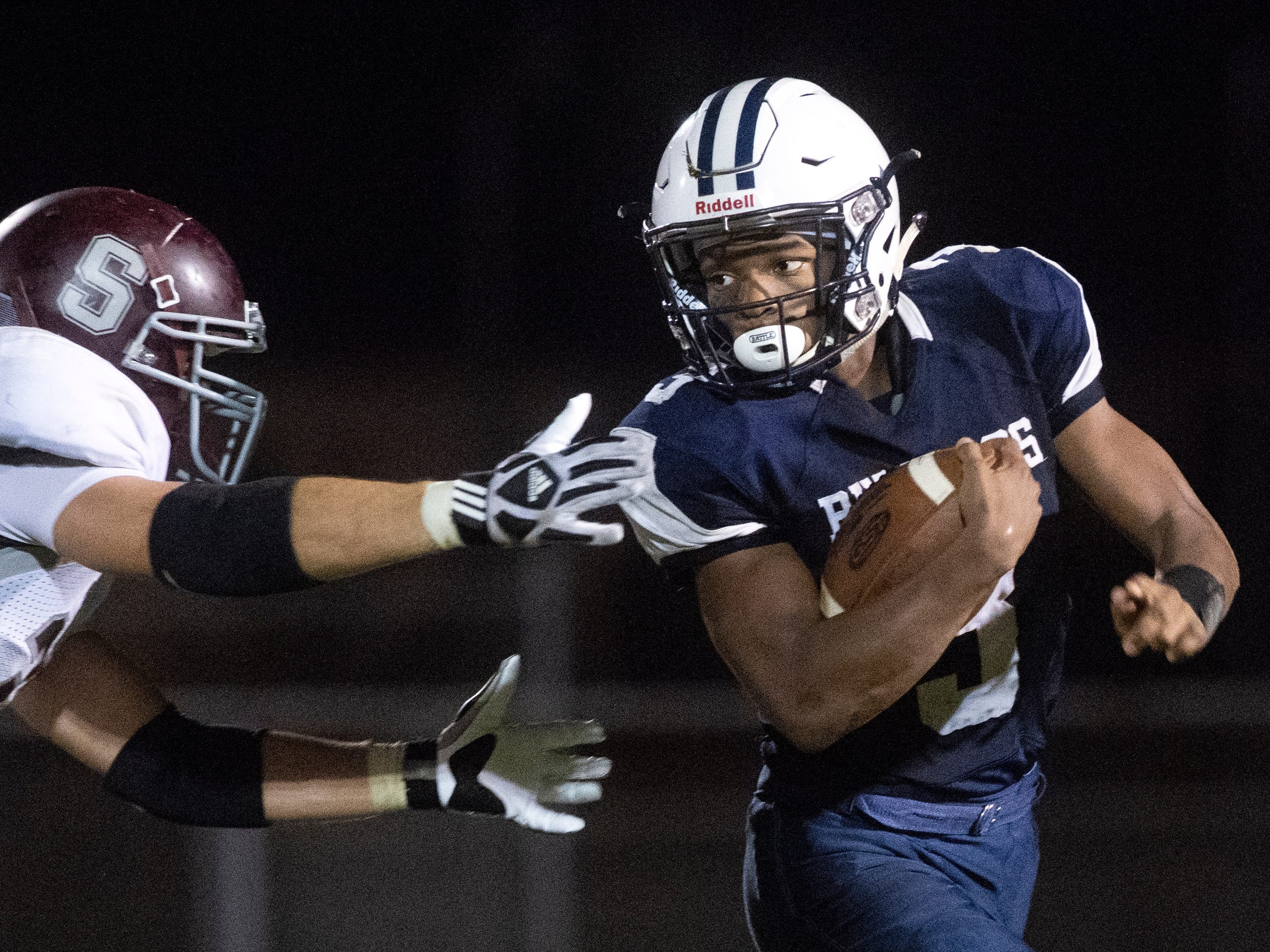 West York's Ay'jaun Marshall (3) dodges a tackle, Friday, Aug. 31, 2018. The Shippensburg Greyhounds beat the West York Bulldgos, 21-14.