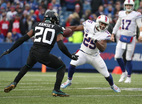 Bills running back LeSean McCoy tries to run past Jaguars Jalen Ramsey.