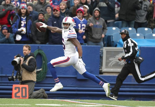 Bills wide receiver Robert Foster scores on a 75-yard  pass from Josh Allen against Jacksonville. Foster came on strong in the second half of the season.