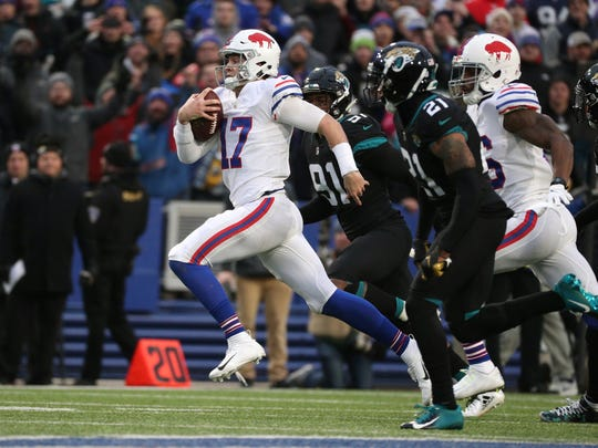 Bills quarterback Josh Allen ran for 99 yards in a 24-21 win over Jacksonville.