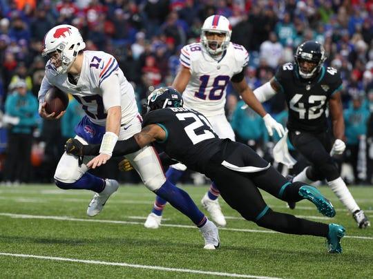 Bills quarterback Josh Allen  ran 13 times for 99-yards against the Jaguars.