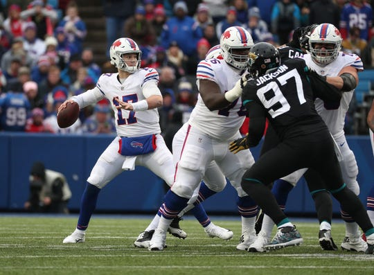 Bills quarterback Josh Allen stands in the pocket against the Jaguars.
