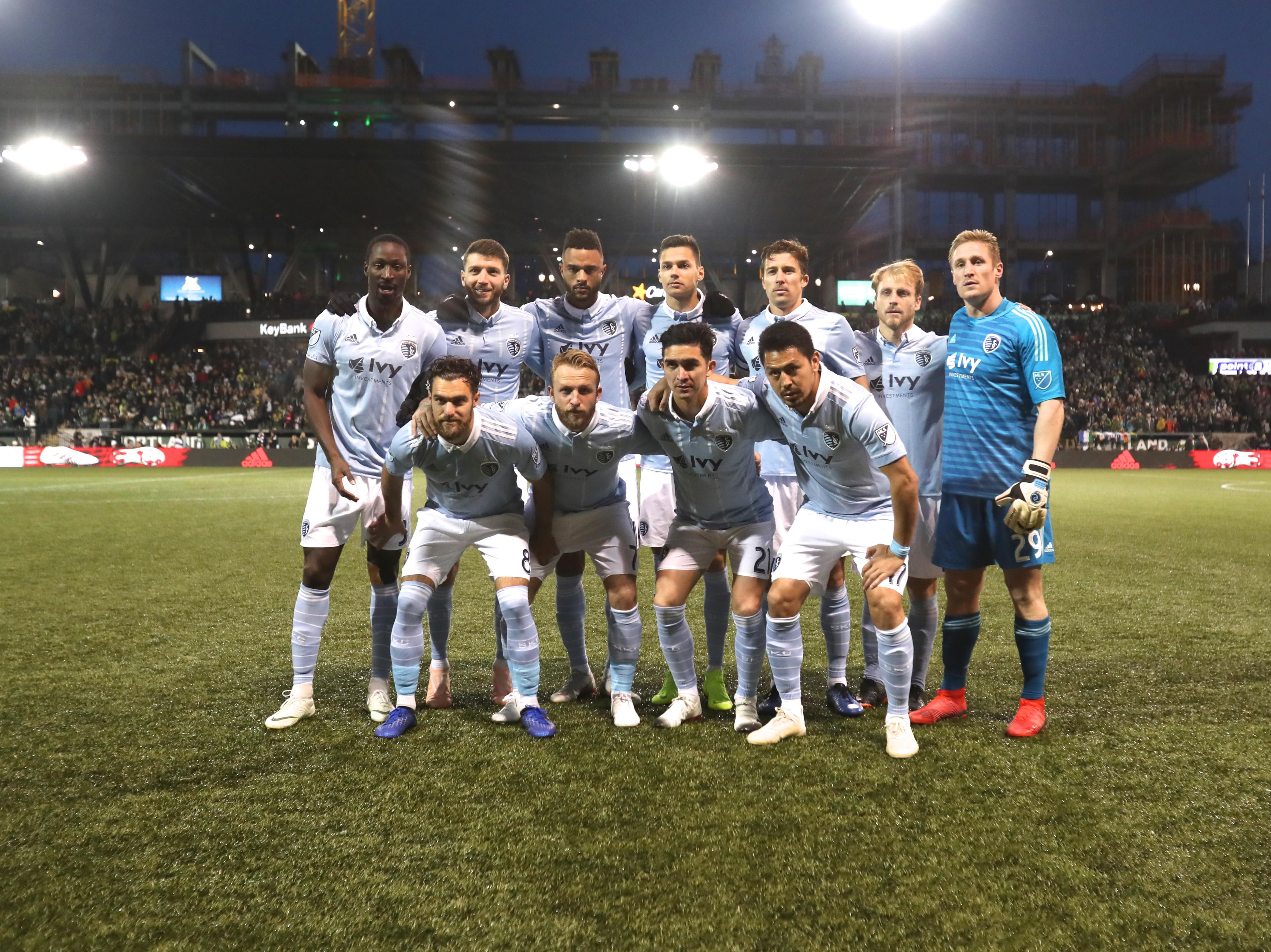 Nov 25, 2018; Portland, OR, USA; Sporting Kansas City starting eleven players pose for a photo prior to their game against the Portland Timbers in the first half of the first leg of the MLS Western Conference Championship at Providence Park. Mandatory Credit: Jaime Valdez-USA TODAY Sports