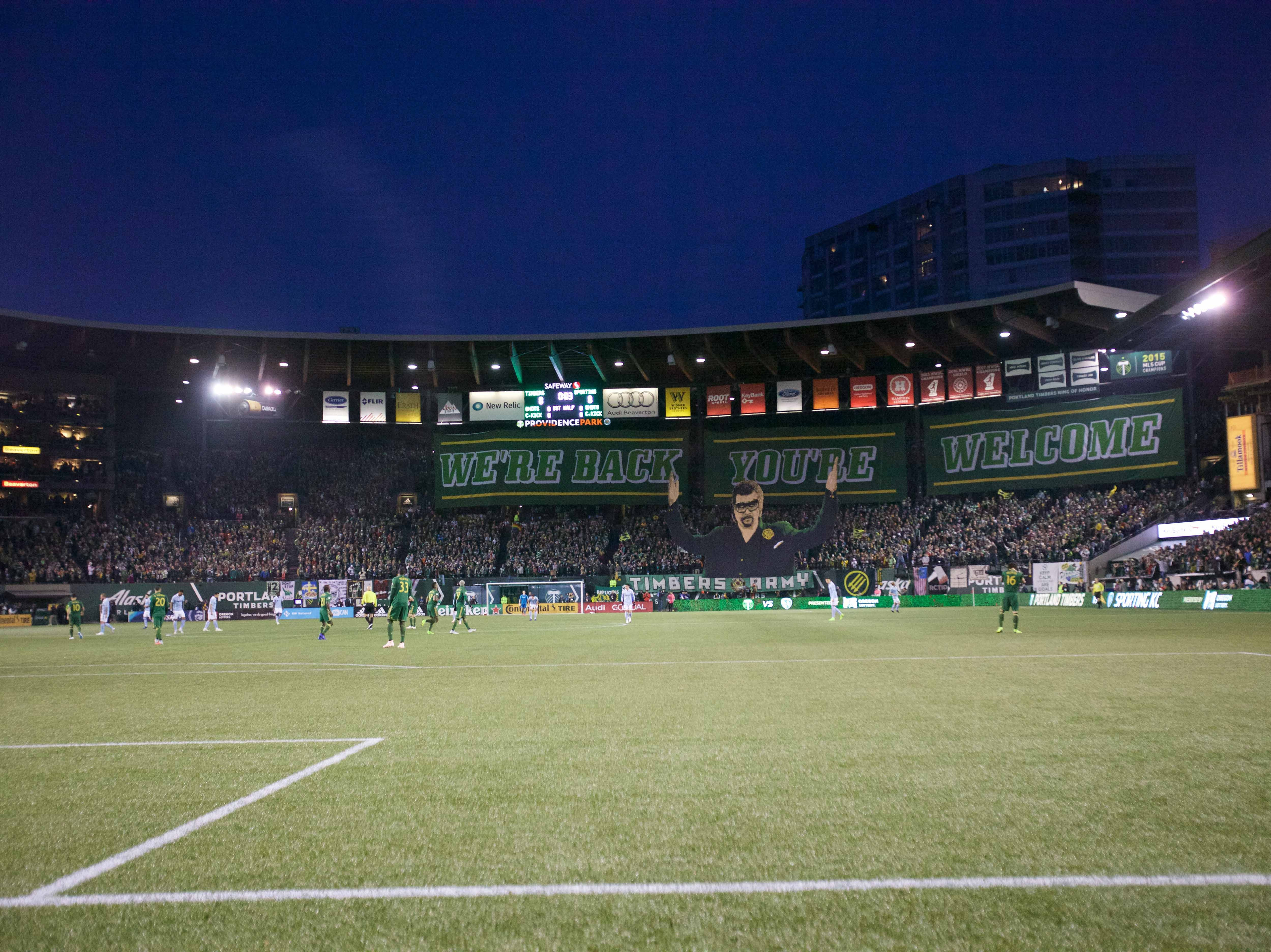 Nov 25, 2018; Portland, OR, USA; Timbers Army raise a tifo before Portland Timbers play Sporting Kansas City in the first leg of the MLS Western Conference Championship at Providence Park. Mandatory Credit: Jaime Valdez-USA TODAY Sports