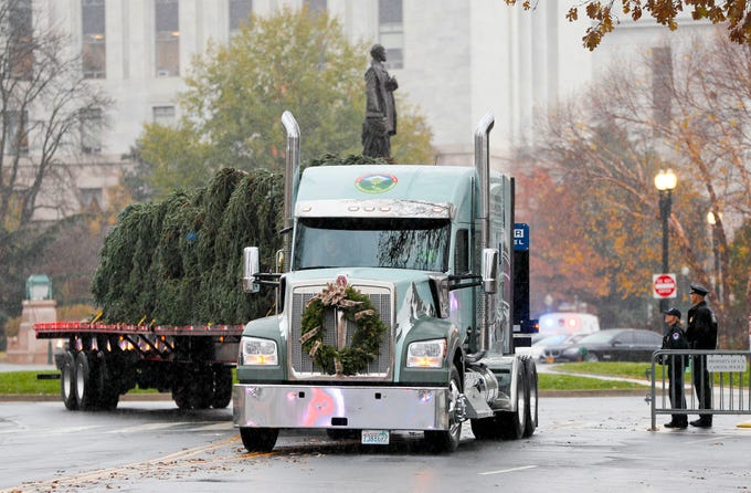 The 2018 U.S. Capitol Christmas Tree arrives to the West Lawn of the U.S. Capitol Building in Washington, Monday, Nov. 26, 2018, from Willamette National Forest in Oregon.