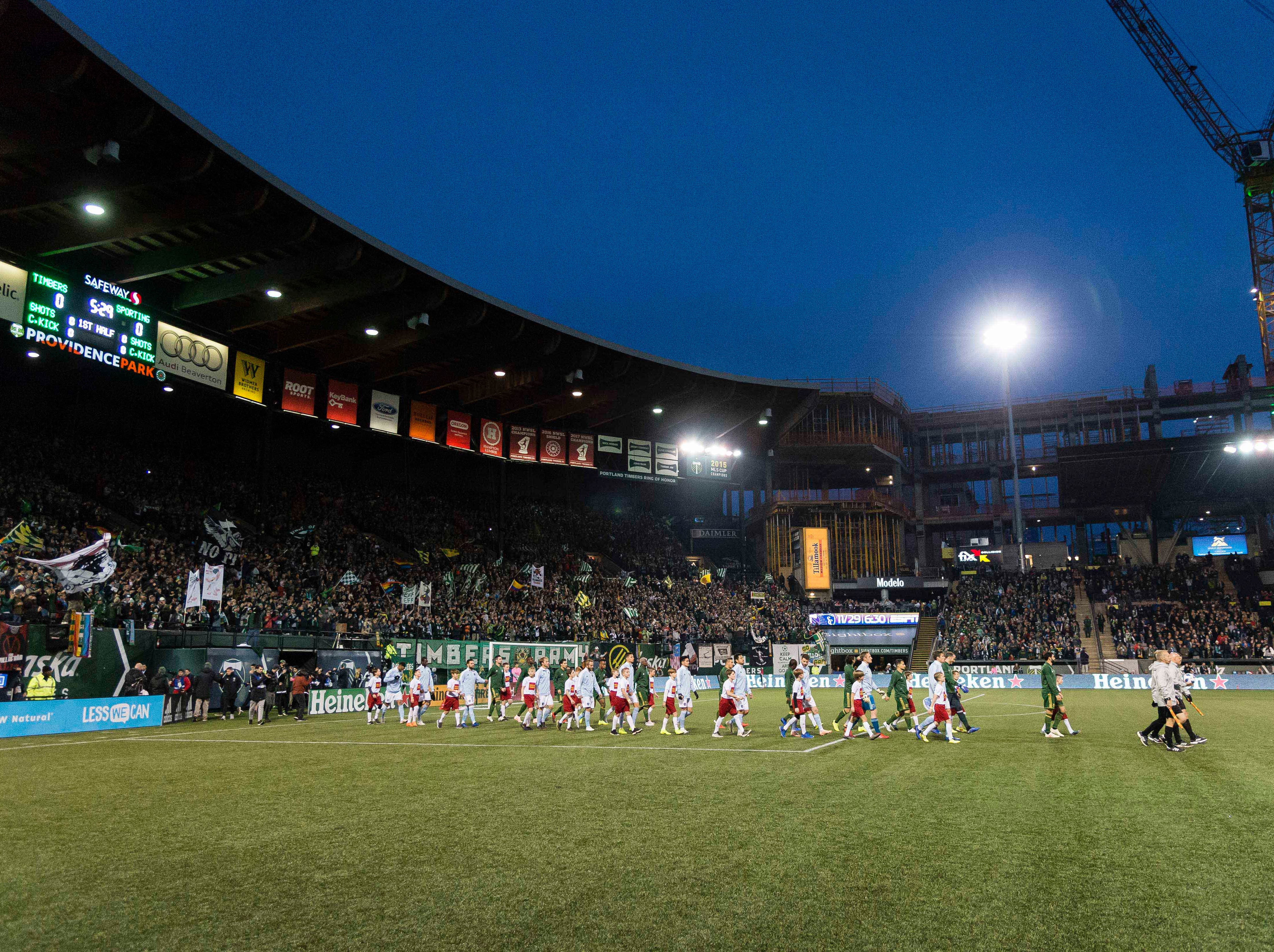 Nov 25, 2018; Portland, OR, USA; Sporting Kansas City and the Portland Timbers take the field before the start of the first leg of the MLS Western Conference Championship at Providence Park. The game ended tied 0-0. Mandatory Credit: Troy Wayrynen-USA TODAY Sports