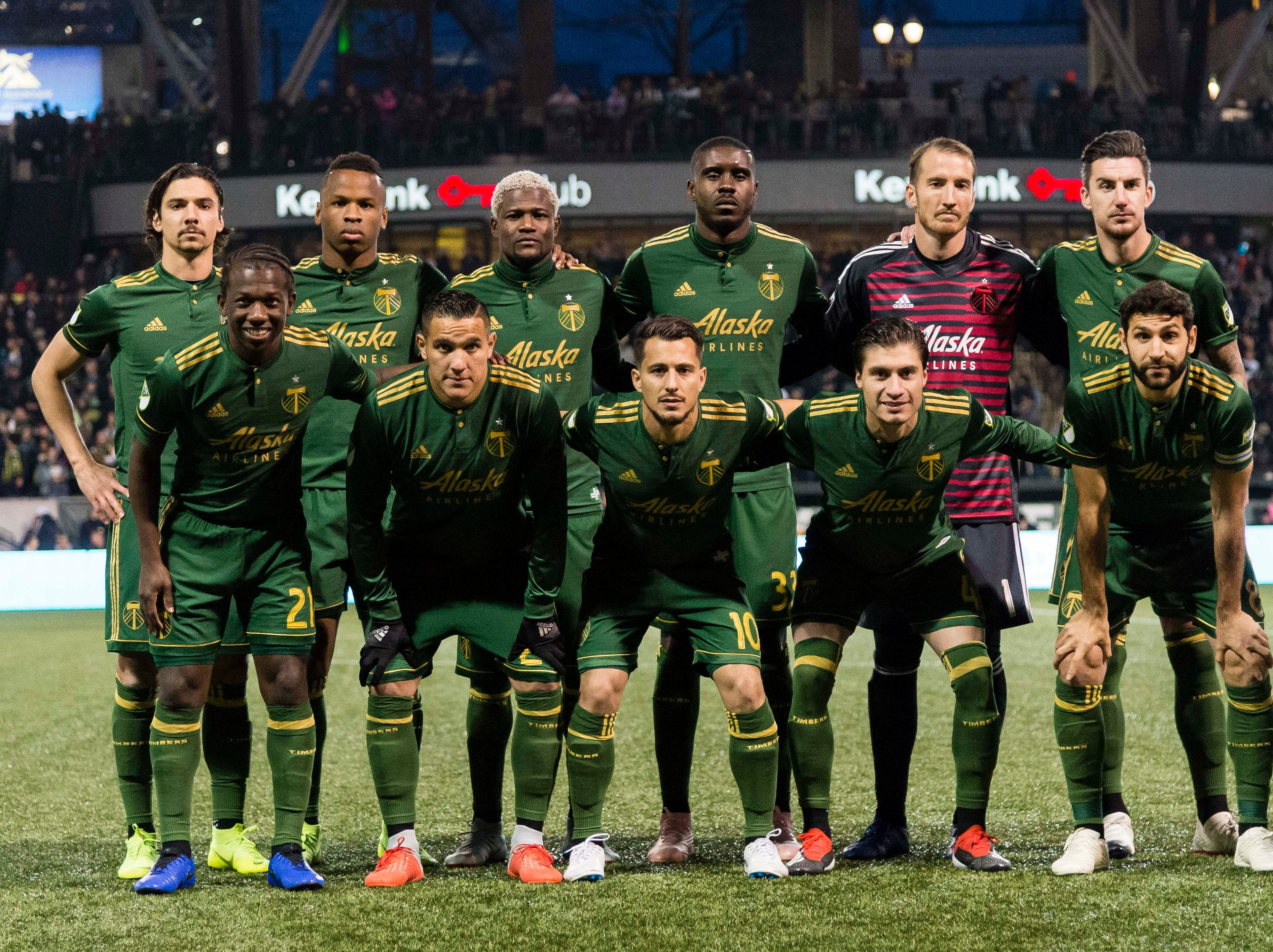 Nov 25, 2018; Portland, OR, USA; The starting lineup for the Portland Timbers before a game against Sporting Kansas City in the first leg of the MLS Western Conference Championship at Providence Park. The game ended tied 0-0.  Mandatory Credit: Troy Wayrynen-USA TODAY Sports