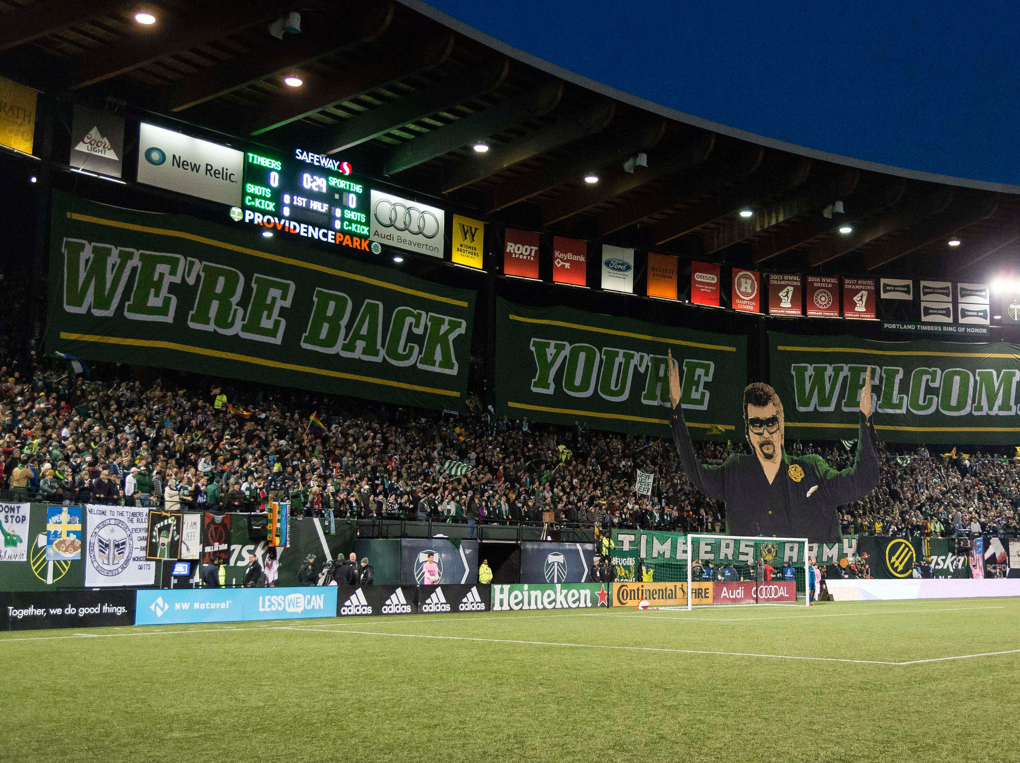 Nov 25, 2018; Portland, OR, USA; Portland Timbers Army and fans raise a Tifo before the start of a game against Sporting Kansas City in the first leg of the MLS Western Conference Championship at Providence Park. The game ended tied 0-0.  Mandatory Credit: Troy Wayrynen-USA TODAY Sports