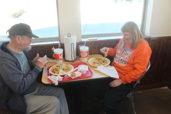 David and Marilda Johnson try the new Bush's Chicken, 1225 Knickerbocker Road, on Monday, Nov. 26, 2018.