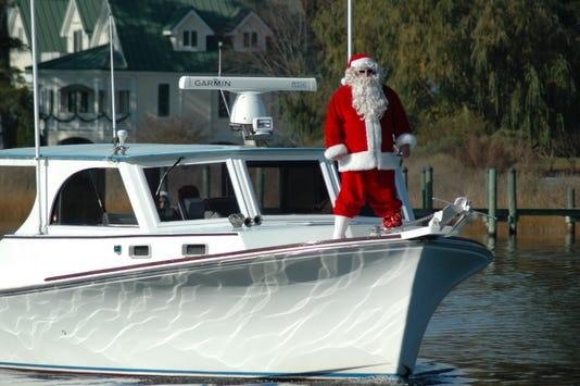Santa arrives in Onancock, Virginia