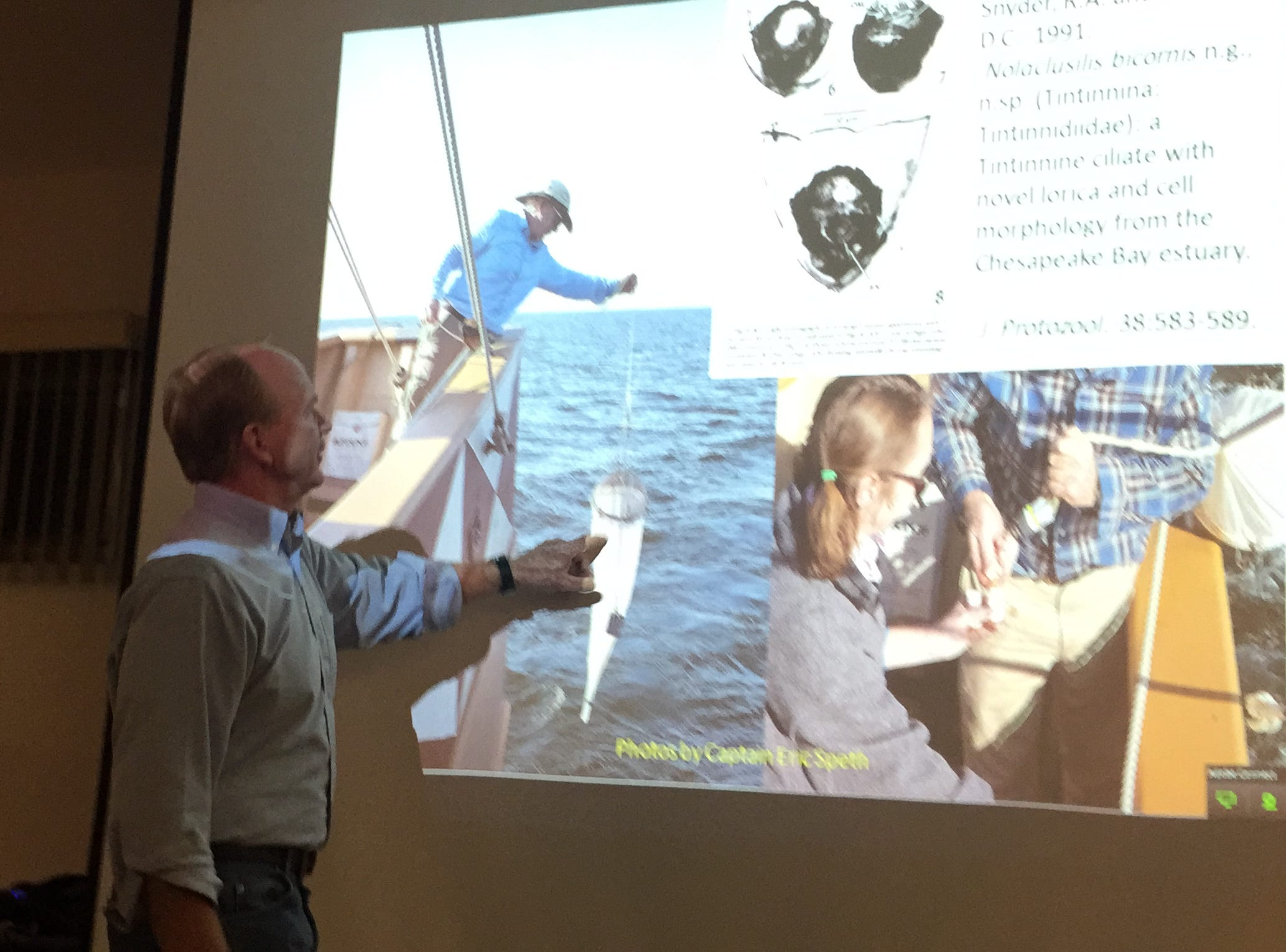 Dick Snyder, director of VIMS Eastern Shore Laboratory, talks to a community group on Wednesday, Nov. 7, 2018 about doing modern scientific research during a voyage aboard the historic replica ship 'Godspeed.'