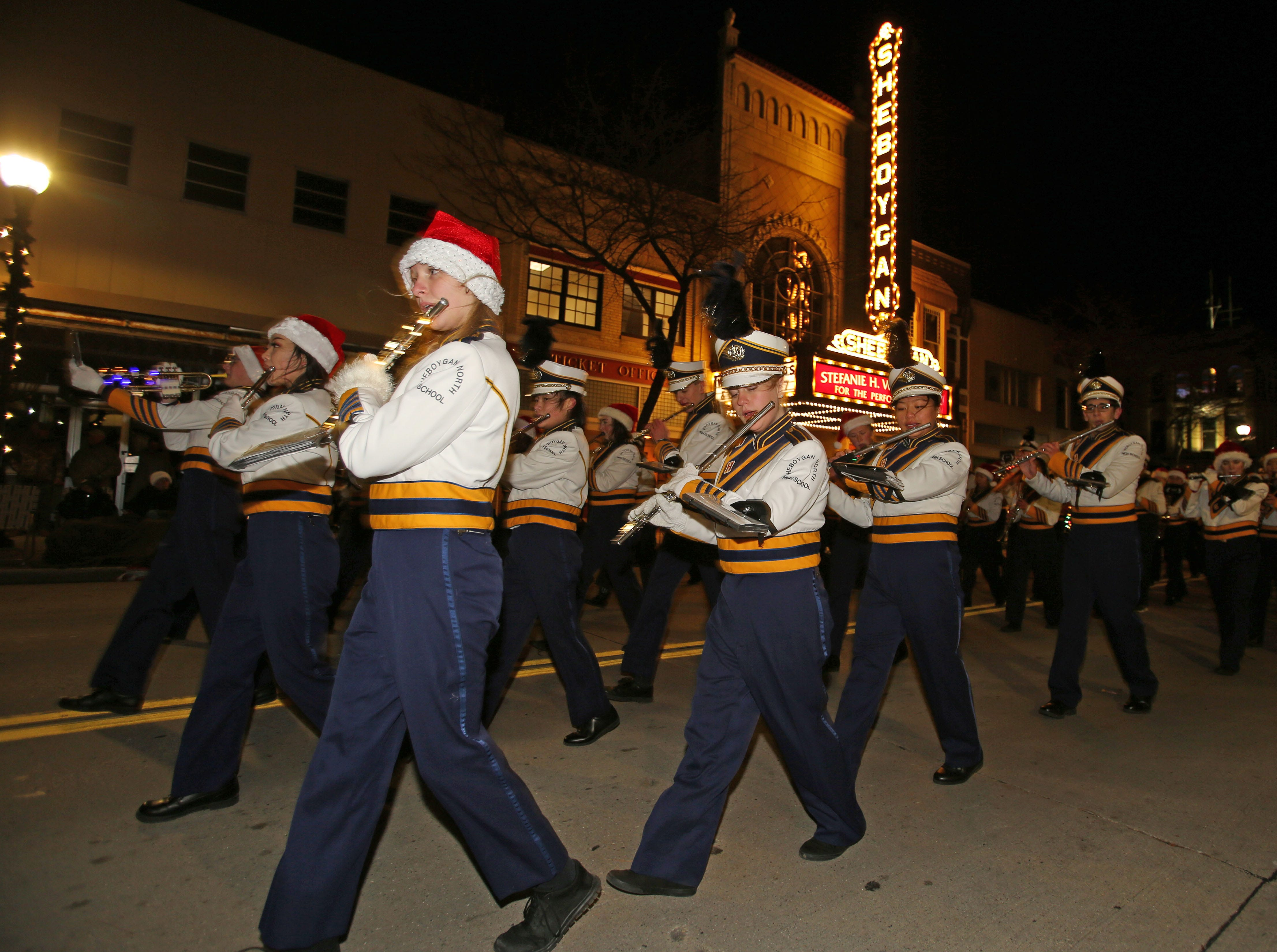 Sheboygan North's band performs during the 26th Annual Jaycees Holiday Parade, Sunday, November 25, 2018 in Sheboygan, Wis.