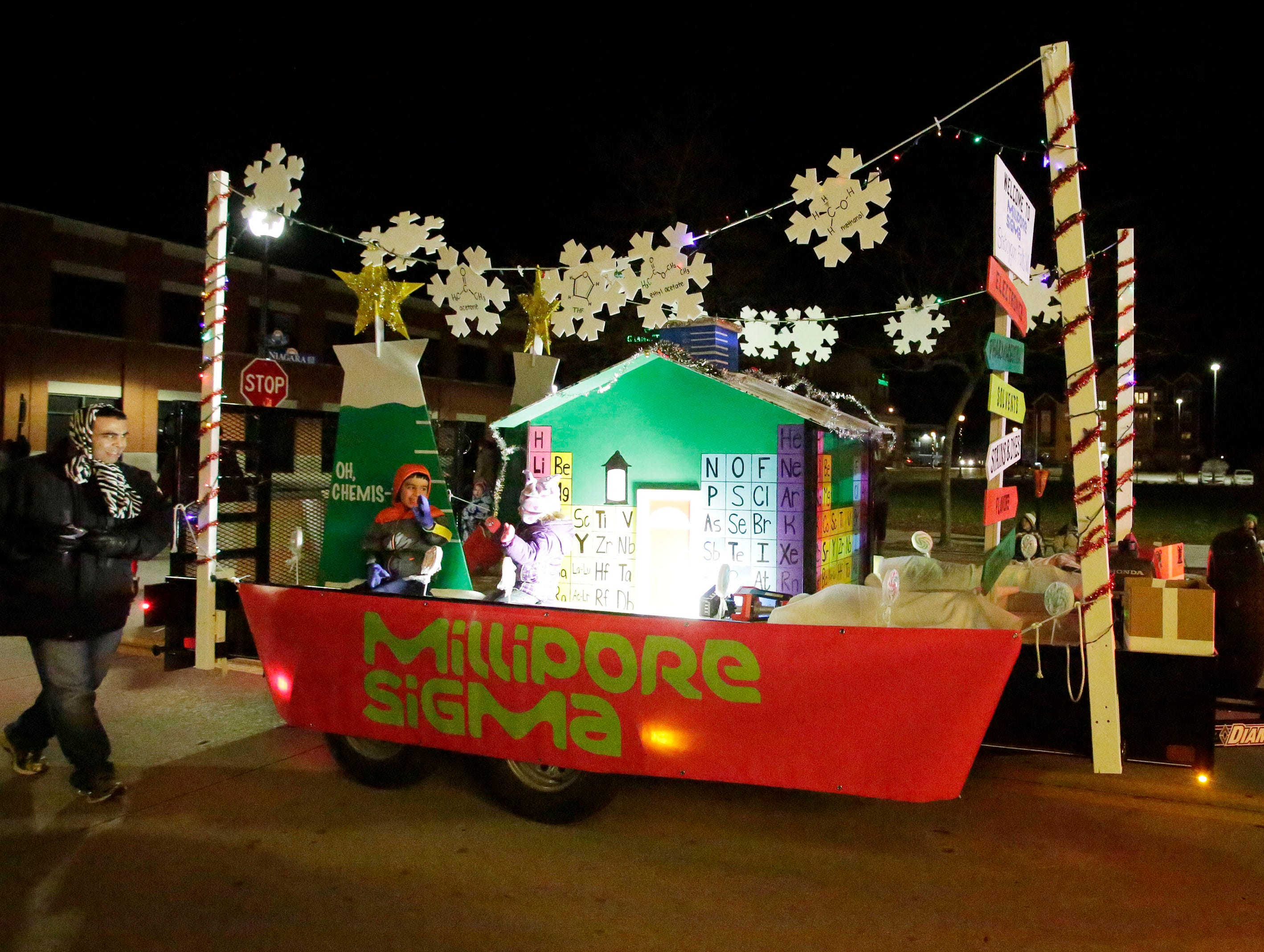 Millipore Sigma's float in the 26th Annual Jaycees Holiday Parade, Sunday, November 25, 2018 in Sheboygan, Wis.