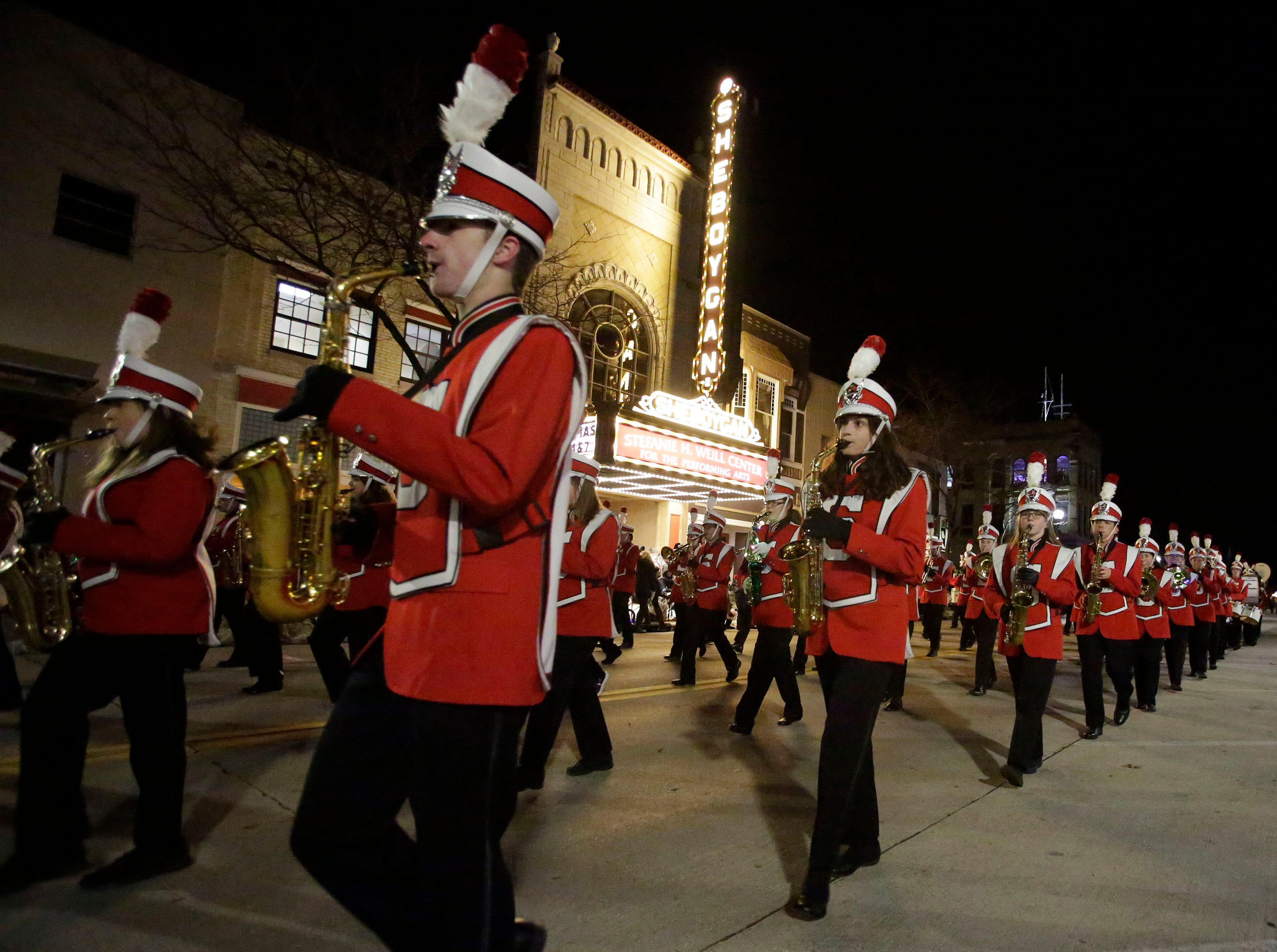 Sheboygan South's marching band performs at the 26th Annual Jaycees Holiday Parade, Sunday, November 25, 2018 in Sheboygan, Wis.