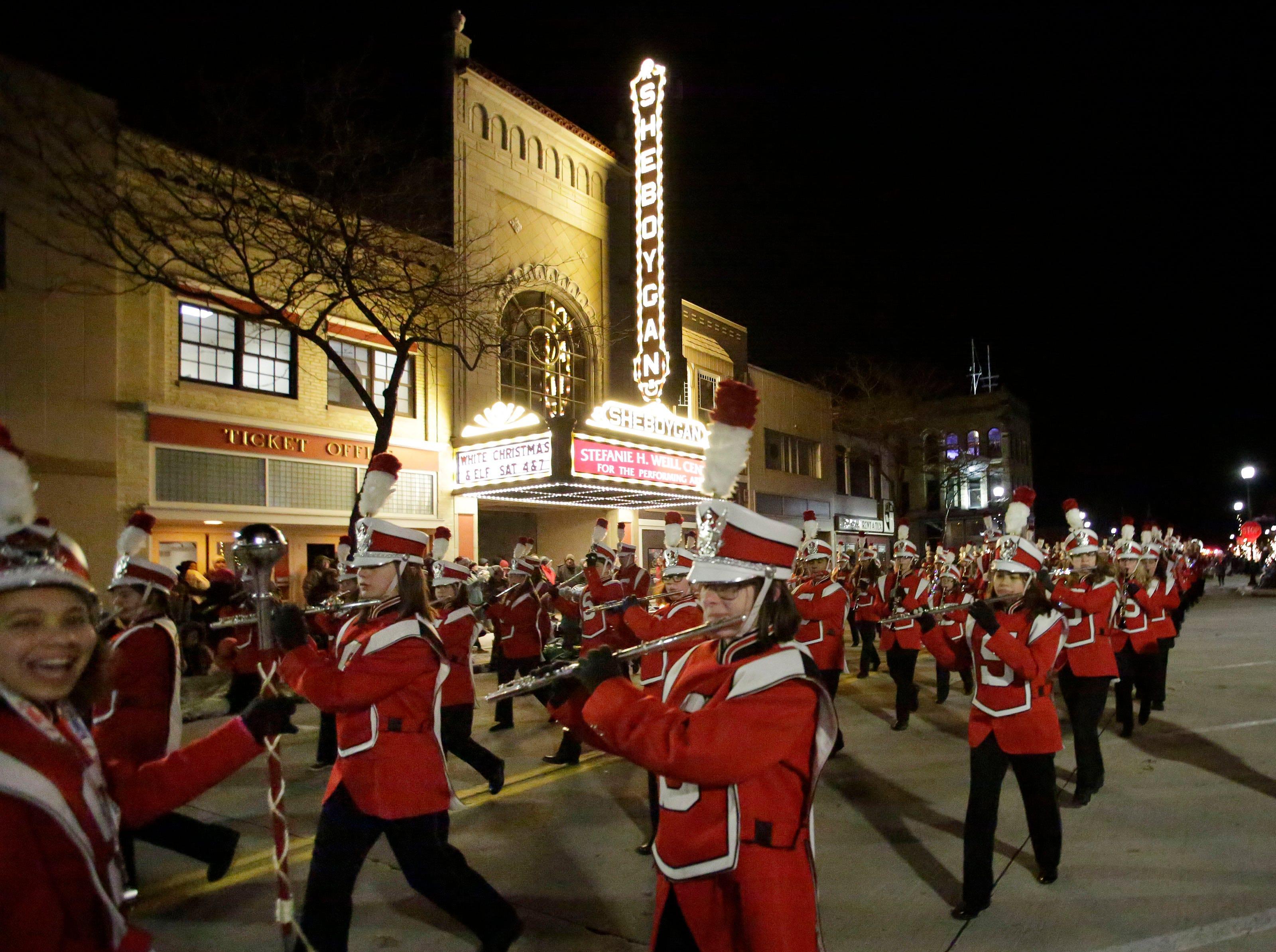 Sheboygan South's marching band performs at the 26th Annual Jaycees Holiday Parade, Sunday, November 25, 2018 in Sheboygan, Wis.