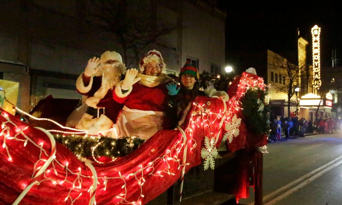 Mr. and Mrs. Santa Claus were toasty warm in their sled during the 26th Annual Jaycees Holiday Parade, Sunday, November 25, 2018 in Sheboygan, Wis.