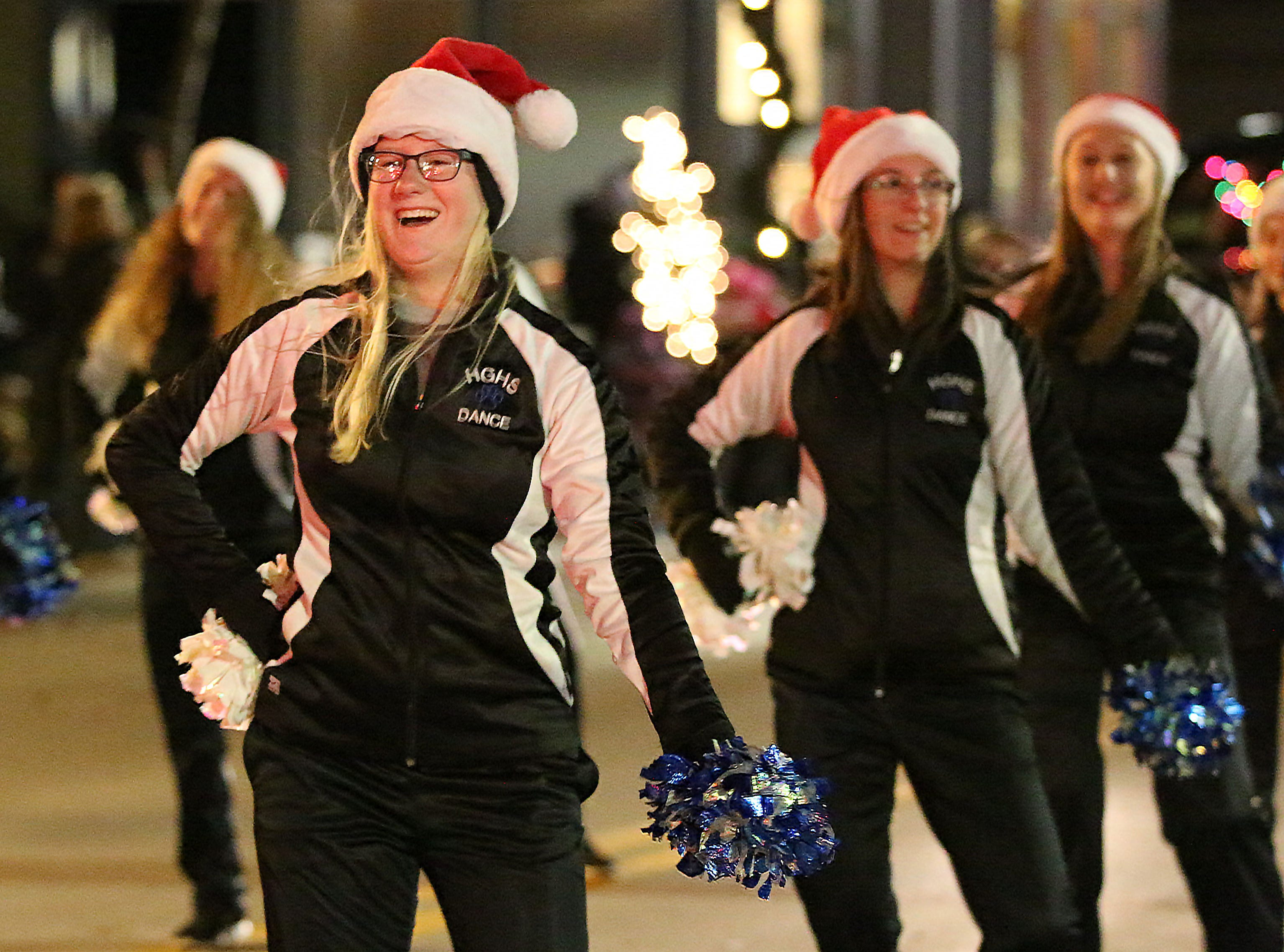 Howard Grove's cheerleading squad performs during the 26th Annual Jaycees Holiday Parade, Sunday, November 25, 2018 in Sheboygan, Wis.